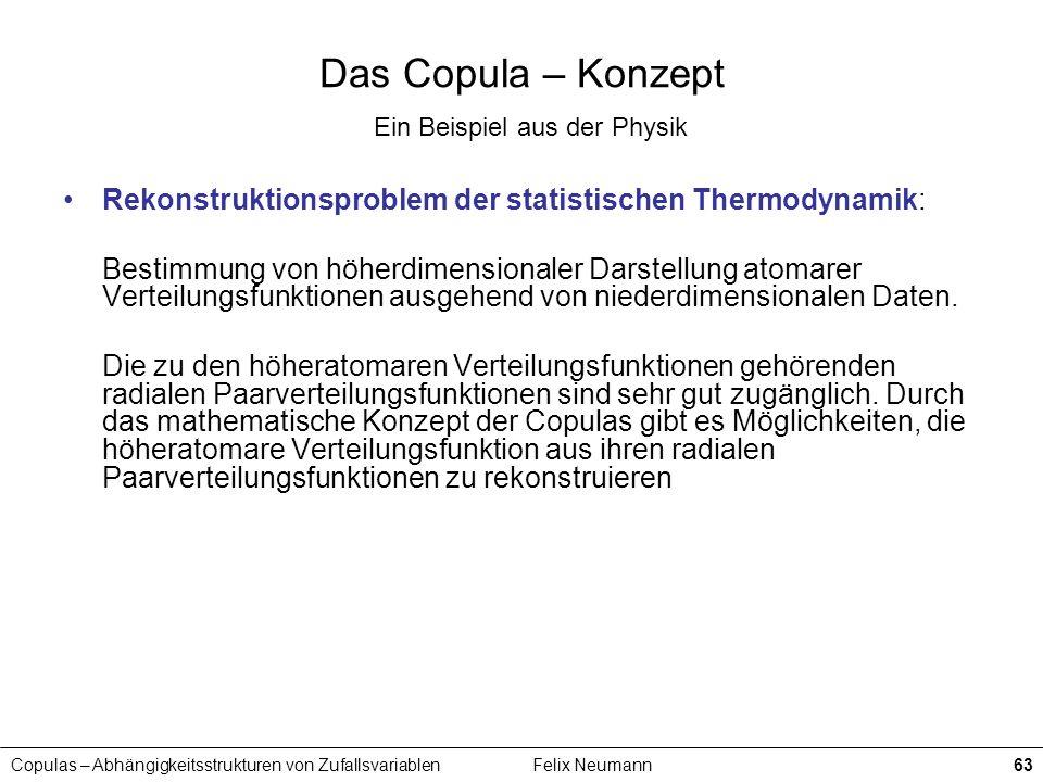 Copulas – Abhängigkeitsstrukturen von ZufallsvariablenFelix Neumann63 Das Copula – Konzept Ein Beispiel aus der Physik Rekonstruktionsproblem der stat