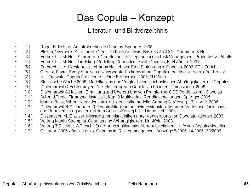 Copulas – Abhängigkeitsstrukturen von ZufallsvariablenFelix Neumann65 Das Copula – Konzept Literatur- und Bildverzeichnis [1.]Roger B. Nelson: An Intr