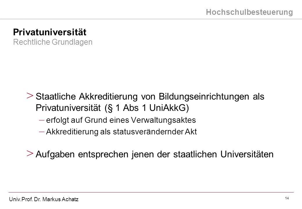 Hochschulbesteuerung Univ.Prof. Dr. Markus Achatz 14 Privatuniversität Rechtliche Grundlagen > Staatliche Akkreditierung von Bildungseinrichtungen als