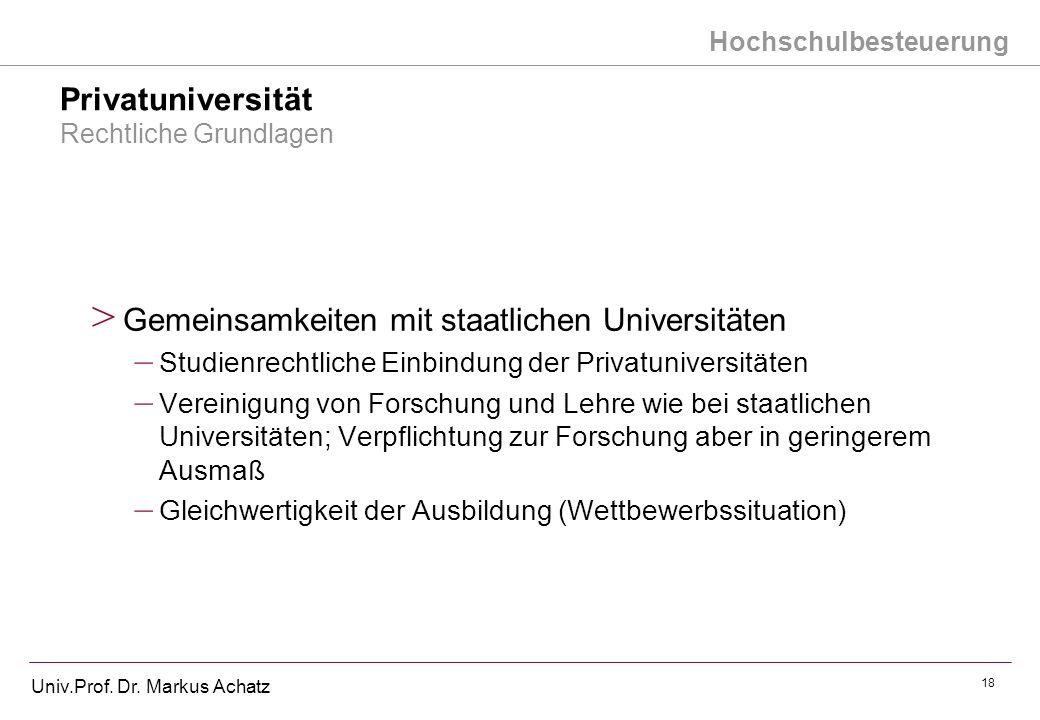 Hochschulbesteuerung Univ.Prof. Dr. Markus Achatz 18 Privatuniversität Rechtliche Grundlagen > Gemeinsamkeiten mit staatlichen Universitäten – Studien