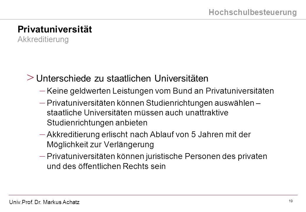 Hochschulbesteuerung Univ.Prof. Dr. Markus Achatz 19 Privatuniversität Akkreditierung > Unterschiede zu staatlichen Universitäten – Keine geldwerten L