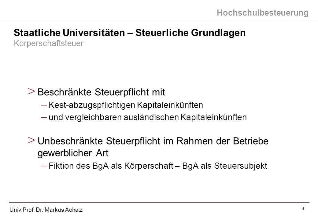 Hochschulbesteuerung Univ.Prof. Dr. Markus Achatz 4 Staatliche Universitäten – Steuerliche Grundlagen Körperschaftsteuer > Beschränkte Steuerpflicht m