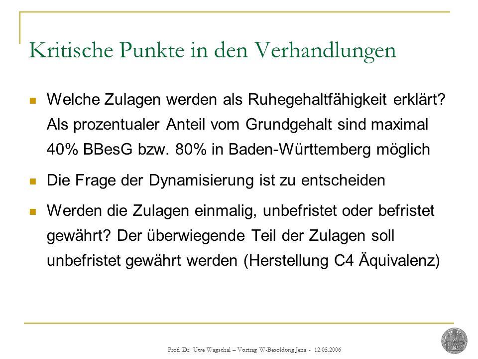 Prof. Dr. Uwe Wagschal – Vortrag W-Besoldung Jena - 12.05.2006 Kritische Punkte in den Verhandlungen Welche Zulagen werden als Ruhegehaltfähigkeit erk