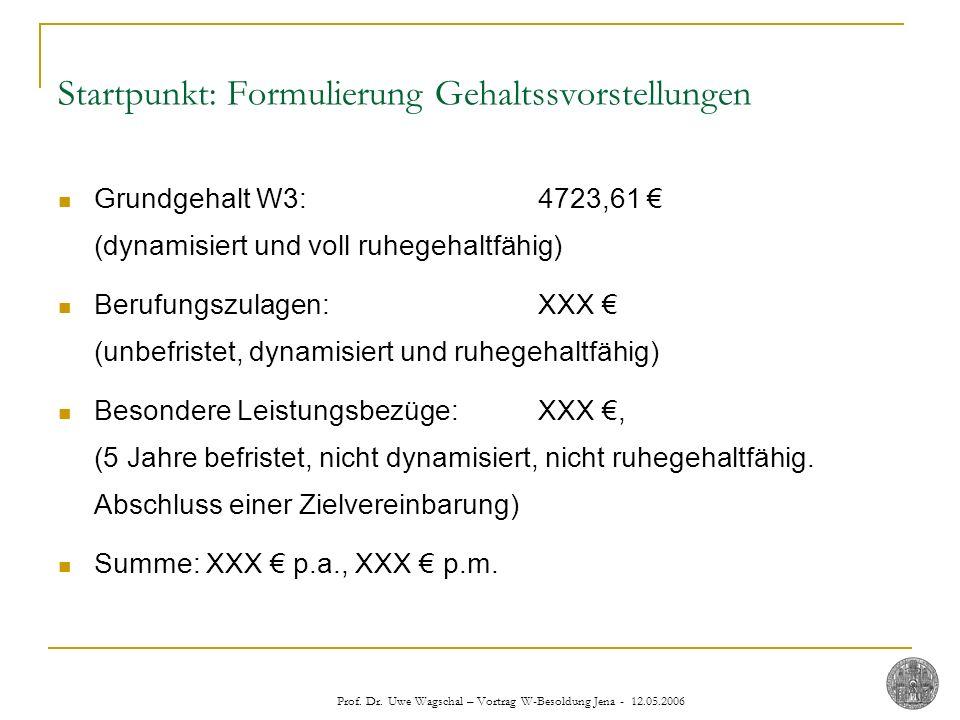 Prof. Dr. Uwe Wagschal – Vortrag W-Besoldung Jena - 12.05.2006 Startpunkt: Formulierung Gehaltssvorstellungen Grundgehalt W3: 4723,61 (dynamisiert und