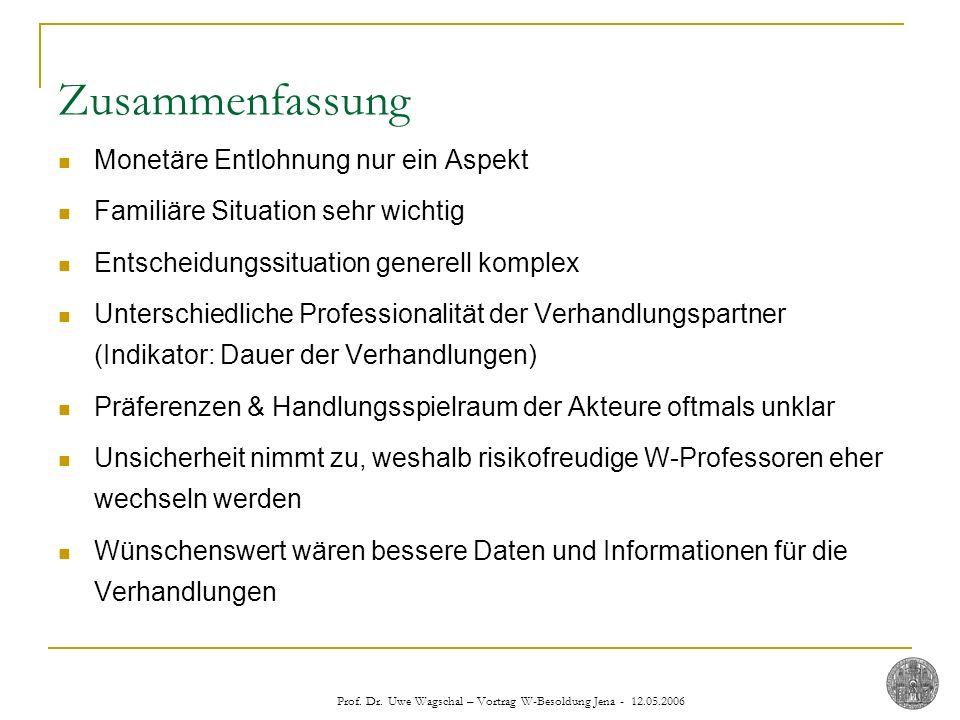 Prof. Dr. Uwe Wagschal – Vortrag W-Besoldung Jena - 12.05.2006 Zusammenfassung Monetäre Entlohnung nur ein Aspekt Familiäre Situation sehr wichtig Ent