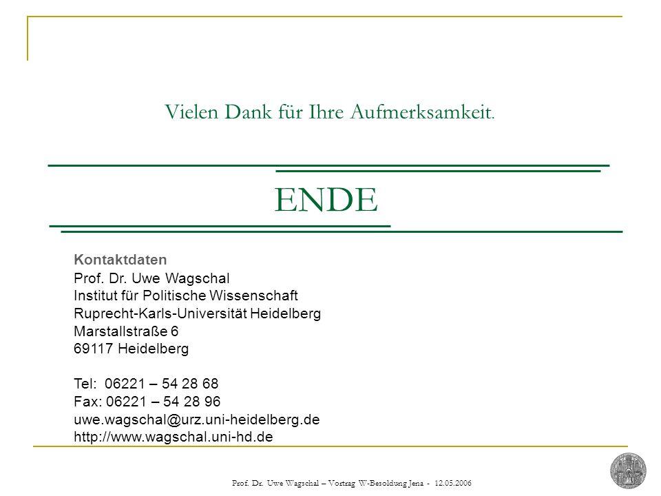 Prof. Dr. Uwe Wagschal – Vortrag W-Besoldung Jena - 12.05.2006 Kontaktdaten Prof. Dr. Uwe Wagschal Institut für Politische Wissenschaft Ruprecht-Karls