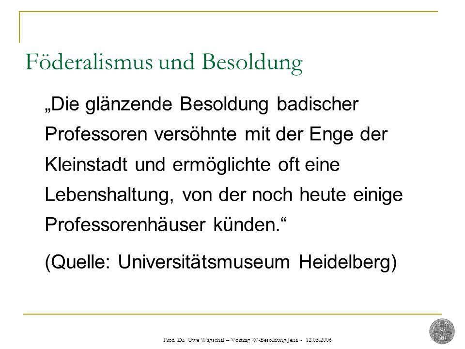 Prof. Dr. Uwe Wagschal – Vortrag W-Besoldung Jena - 12.05.2006 Die glänzende Besoldung badischer Professoren versöhnte mit der Enge der Kleinstadt und