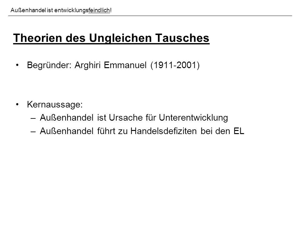 Theorien des Ungleichen Tausches Begründer: Arghiri Emmanuel (1911-2001) Kernaussage: –Außenhandel ist Ursache für Unterentwicklung –Außenhandel führt zu Handelsdefiziten bei den EL Außenhandel ist entwicklungsfeindlich!