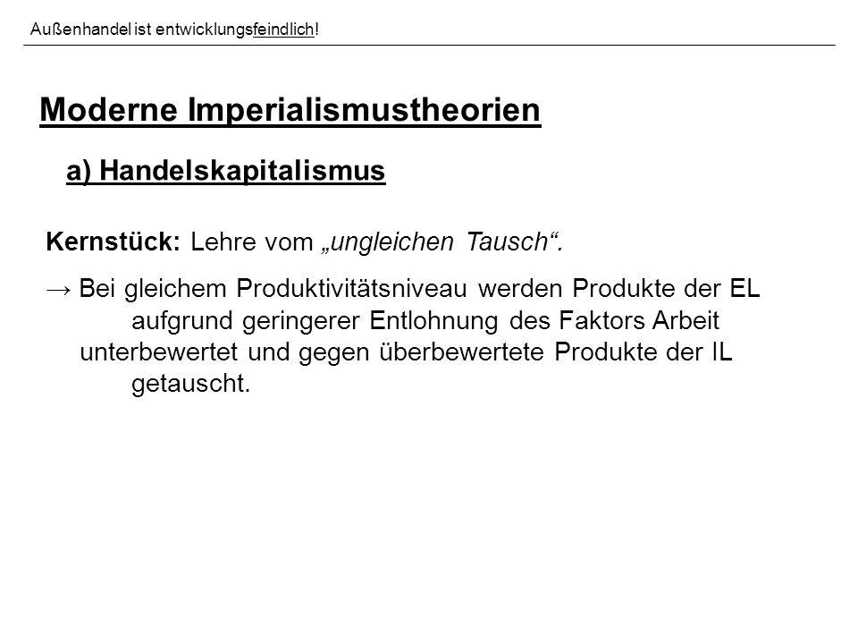 Moderne Imperialismustheorien a) Handelskapitalismus Kernstück: Lehre vom ungleichen Tausch.