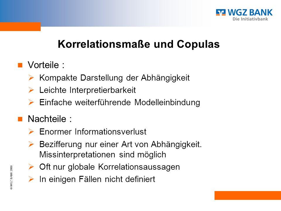 © WGZ BANK 2008 Korrelationsmaße und Copulas Vorteile : Kompakte Darstellung der Abhängigkeit Leichte Interpretierbarkeit Einfache weiterführende Modelleinbindung Nachteile : Enormer Informationsverlust Bezifferung nur einer Art von Abhängigkeit.