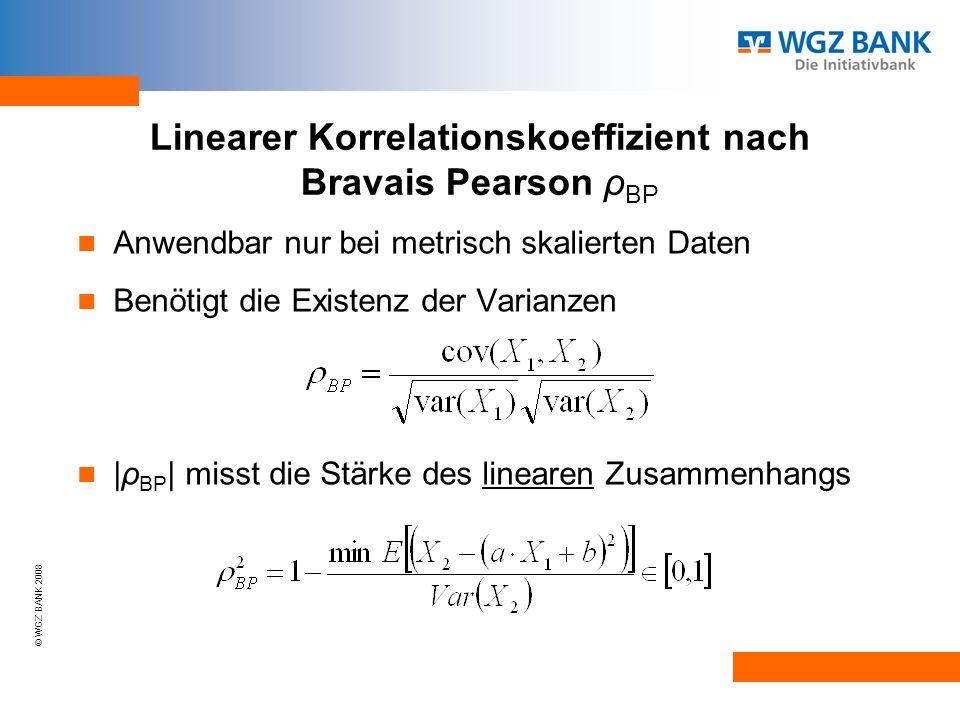 © WGZ BANK 2008 Linearer Korrelationskoeffizient nach Bravais Pearson ρ BP Anwendbar nur bei metrisch skalierten Daten Benötigt die Existenz der Varianzen |ρ BP | misst die Stärke des linearen Zusammenhangs