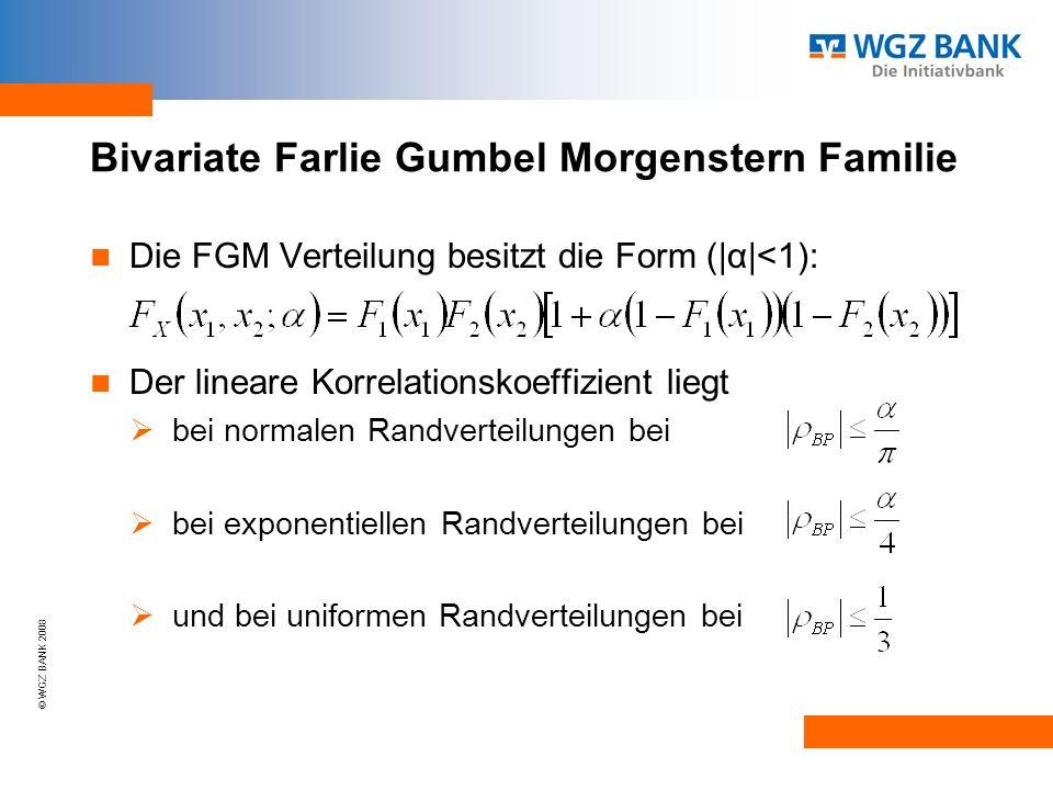 © WGZ BANK 2008 Bivariate Farlie Gumbel Morgenstern Familie Die FGM Verteilung besitzt die Form (|α|<1): Der lineare Korrelationskoeffizient liegt bei normalen Randverteilungen bei bei exponentiellen Randverteilungen bei und bei uniformen Randverteilungen bei