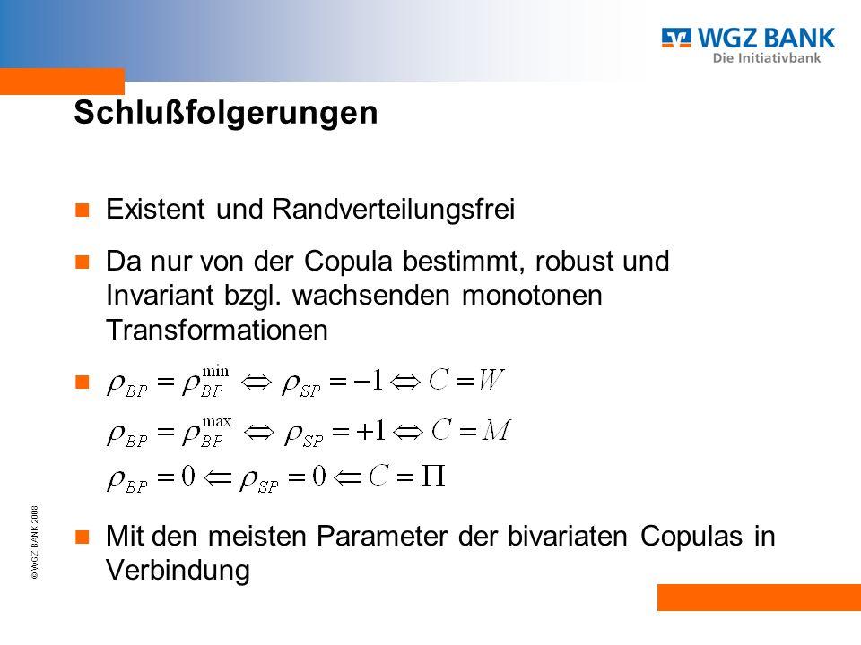 © WGZ BANK 2008 Schlußfolgerungen Existent und Randverteilungsfrei Da nur von der Copula bestimmt, robust und Invariant bzgl.