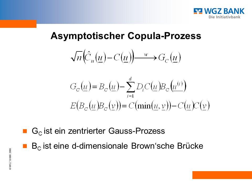 © WGZ BANK 2008 Asymptotischer Copula-Prozess G C ist ein zentrierter Gauss-Prozess B C ist eine d-dimensionale Brownsche Brücke