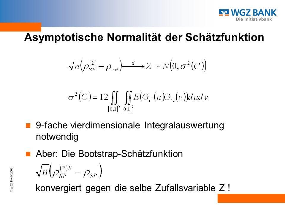 © WGZ BANK 2008 Asymptotische Normalität der Schätzfunktion 9-fache vierdimensionale Integralauswertung notwendig Aber: Die Bootstrap-Schätzfunktion konvergiert gegen die selbe Zufallsvariable Z !