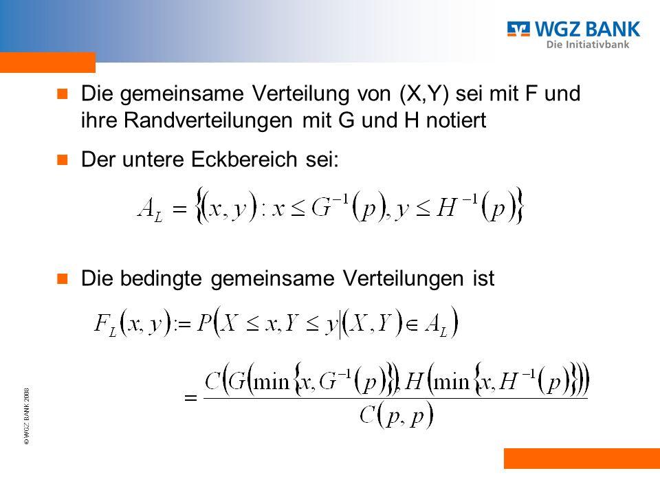 © WGZ BANK 2008 Die gemeinsame Verteilung von (X,Y) sei mit F und ihre Randverteilungen mit G und H notiert Der untere Eckbereich sei: Die bedingte gemeinsame Verteilungen ist