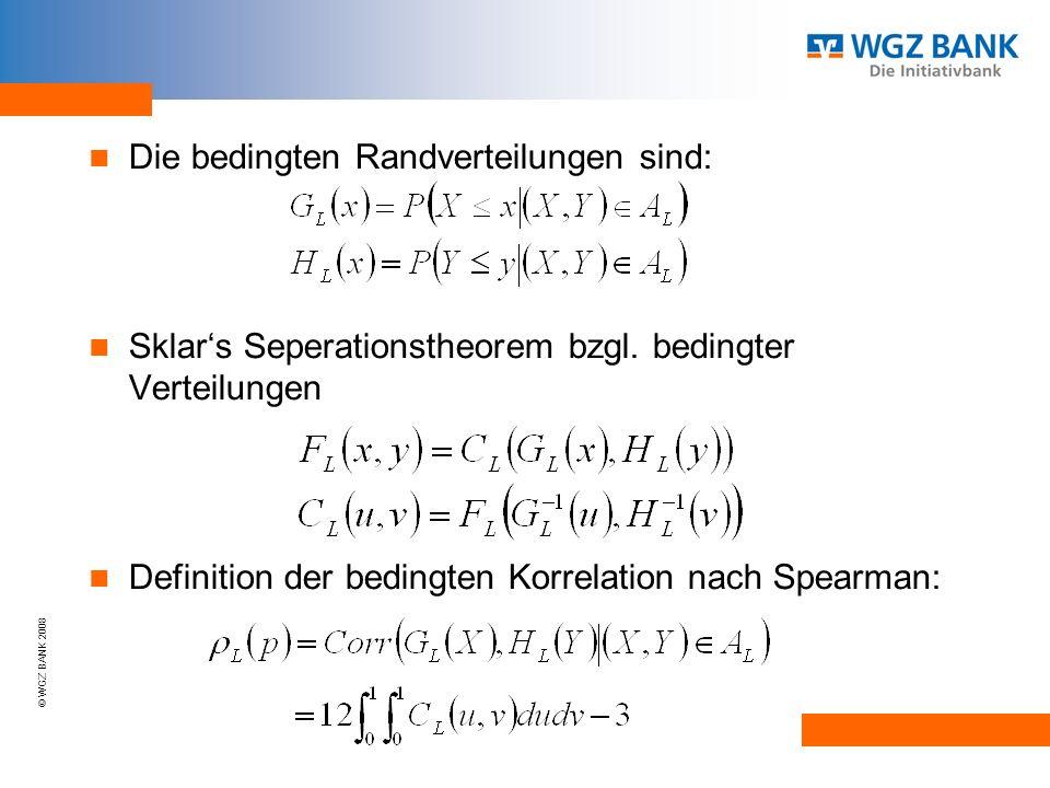 © WGZ BANK 2008 Die bedingten Randverteilungen sind: Sklars Seperationstheorem bzgl.