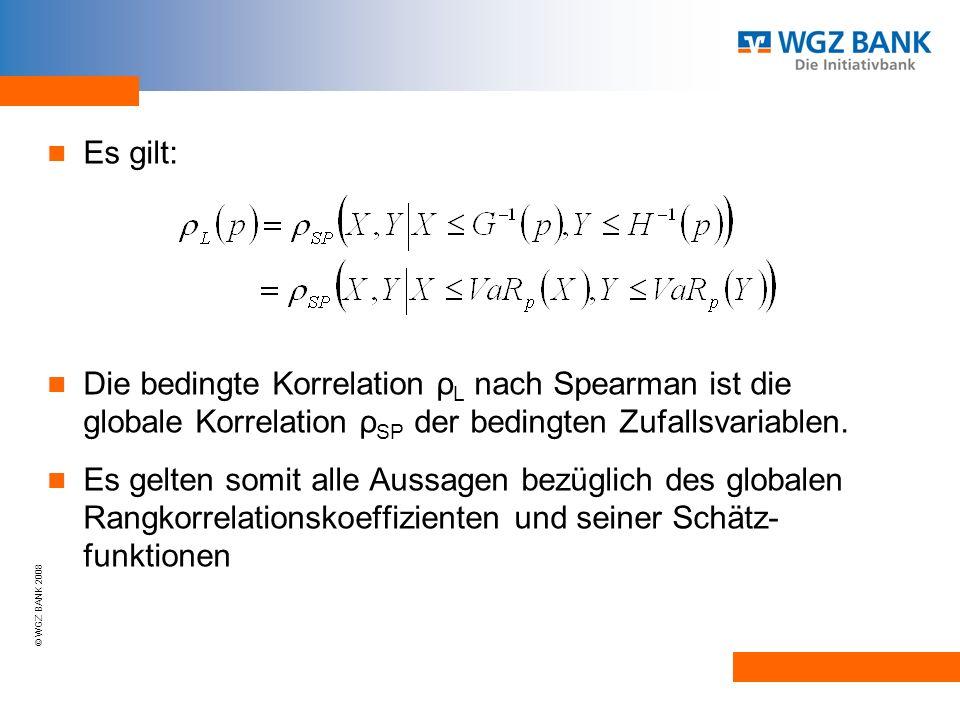© WGZ BANK 2008 Es gilt: Die bedingte Korrelation ρ L nach Spearman ist die globale Korrelation ρ SP der bedingten Zufallsvariablen.