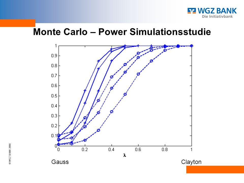 © WGZ BANK 2008 Monte Carlo – Power Simulationsstudie Gauss Clayton