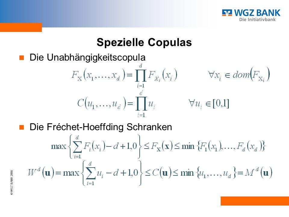 © WGZ BANK 2008 Spezielle Copulas Die Unabhängigkeitscopula Die Fréchet-Hoeffding Schranken