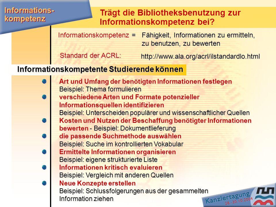 Trägt die Bibliotheksbenutzung zur Informationskompetenz bei? Standard der ACRL: Informations- kompetenz Art und Umfang der benötigten Informationen f