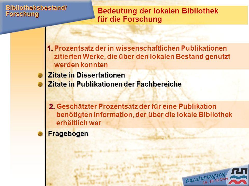 1. 1.Prozentsatz der in wissenschaftlichen Publikationen zitierten Werke, die über den lokalen Bestand genutzt werden konnten Zitate in Dissertationen