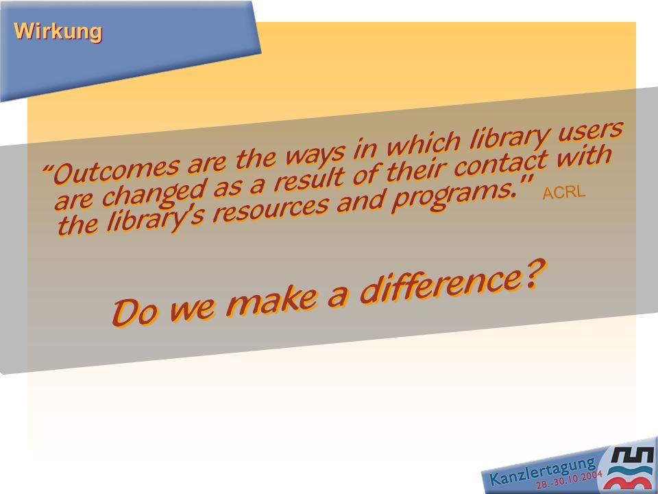 Veränderungen in Fähigkeiten, Verhalten, Wissen und Urteil der Nutzer Wissen Informationskompetenz Demokratie Soziale Einbeziehung Lebenslanges Lernen Individuelle Lebensqualität Was sollen Bibliotheken ihrem Auftrag nach bewirken / fördern.