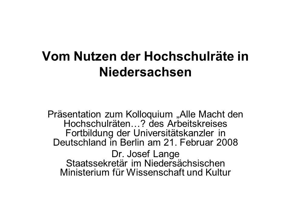 Vom Nutzen der Hochschulräte in Niedersachsen Präsentation zum Kolloquium Alle Macht den Hochschulräten…? des Arbeitskreises Fortbildung der Universit