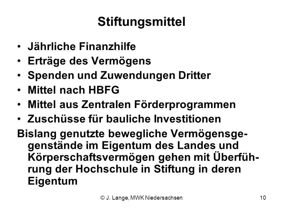 © J. Lange, MWK Niedersachsen10 Stiftungsmittel Jährliche Finanzhilfe Erträge des Vermögens Spenden und Zuwendungen Dritter Mittel nach HBFG Mittel au