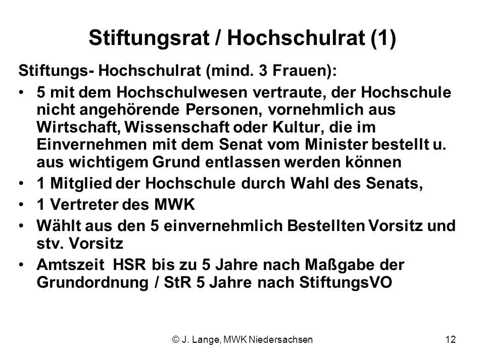 © J. Lange, MWK Niedersachsen12 Stiftungsrat / Hochschulrat (1) Stiftungs- Hochschulrat (mind. 3 Frauen): 5 mit dem Hochschulwesen vertraute, der Hoch