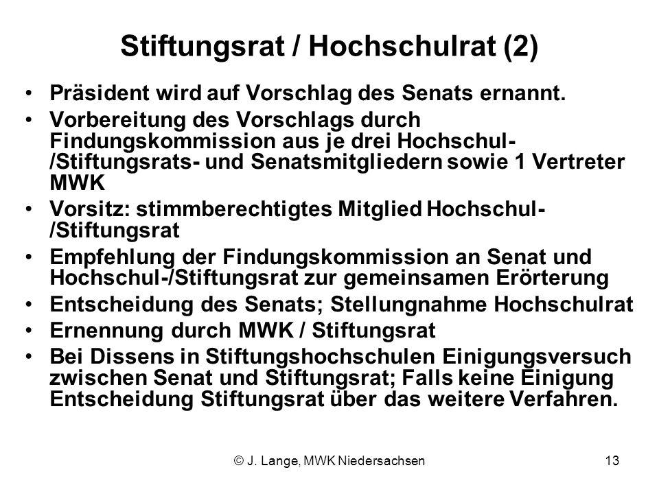 © J. Lange, MWK Niedersachsen13 Stiftungsrat / Hochschulrat (2) Präsident wird auf Vorschlag des Senats ernannt. Vorbereitung des Vorschlags durch Fin