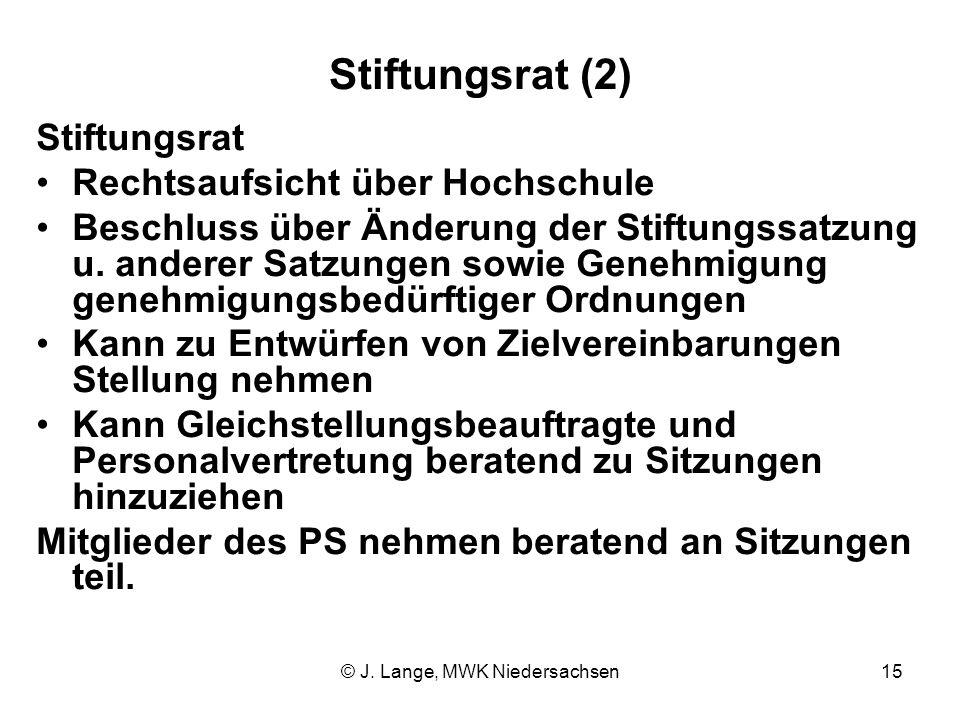 © J. Lange, MWK Niedersachsen15 Stiftungsrat (2) Stiftungsrat Rechtsaufsicht über Hochschule Beschluss über Änderung der Stiftungssatzung u. anderer S