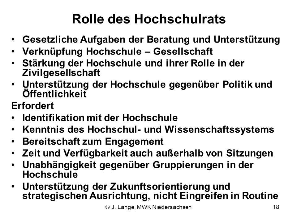© J. Lange, MWK Niedersachsen18 Rolle des Hochschulrats Gesetzliche Aufgaben der Beratung und Unterstützung Verknüpfung Hochschule – Gesellschaft Stär