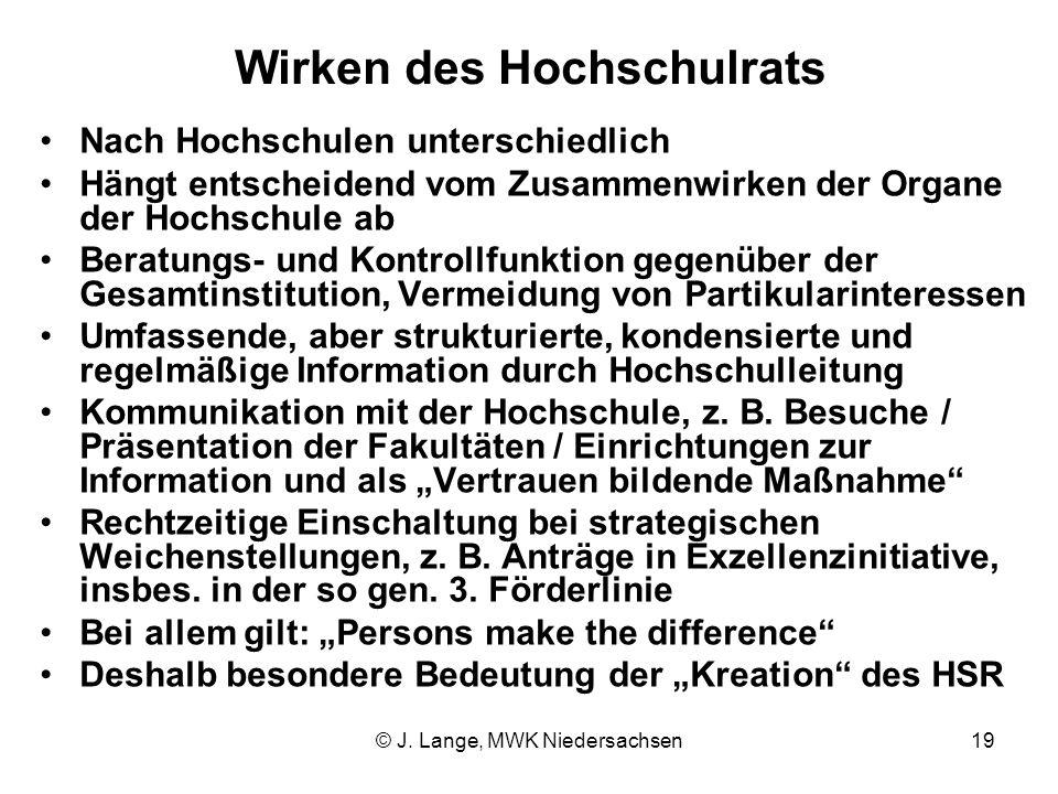 © J. Lange, MWK Niedersachsen19 Wirken des Hochschulrats Nach Hochschulen unterschiedlich Hängt entscheidend vom Zusammenwirken der Organe der Hochsch
