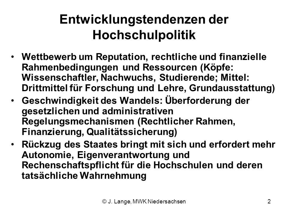 © J. Lange, MWK Niedersachsen2 Entwicklungstendenzen der Hochschulpolitik Wettbewerb um Reputation, rechtliche und finanzielle Rahmenbedingungen und R