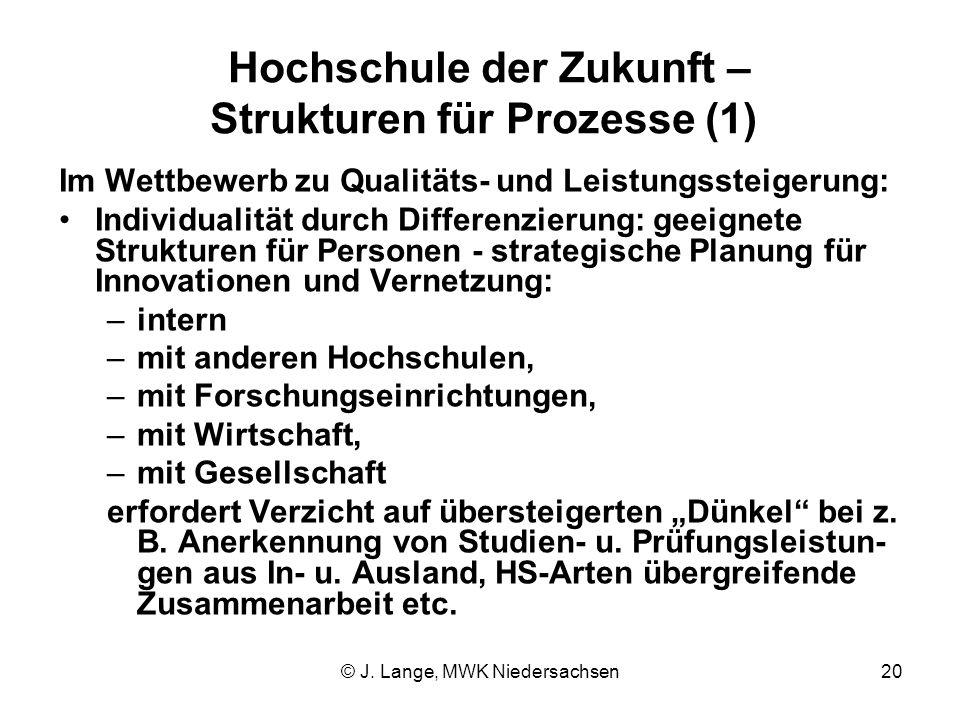 © J. Lange, MWK Niedersachsen20 Hochschule der Zukunft – Strukturen für Prozesse (1) Im Wettbewerb zu Qualitäts- und Leistungssteigerung: Individualit