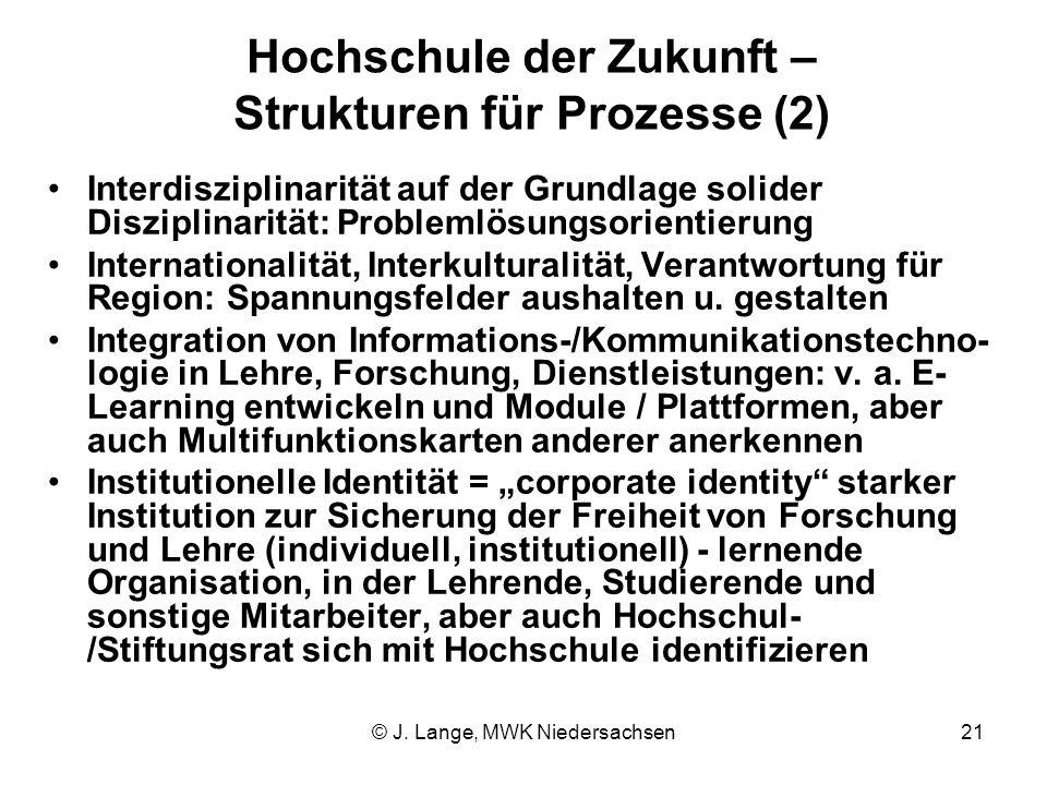 © J. Lange, MWK Niedersachsen21 Hochschule der Zukunft – Strukturen für Prozesse (2) Interdisziplinarität auf der Grundlage solider Disziplinarität: P