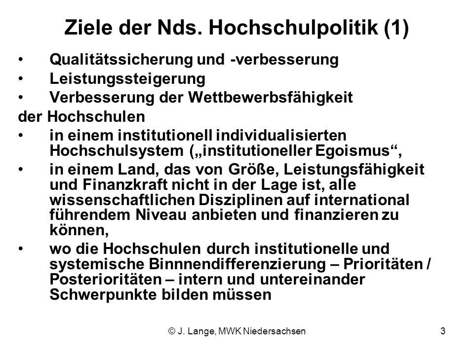 © J. Lange, MWK Niedersachsen3 Ziele der Nds. Hochschulpolitik (1) Qualitätssicherung und -verbesserung Leistungssteigerung Verbesserung der Wettbewer