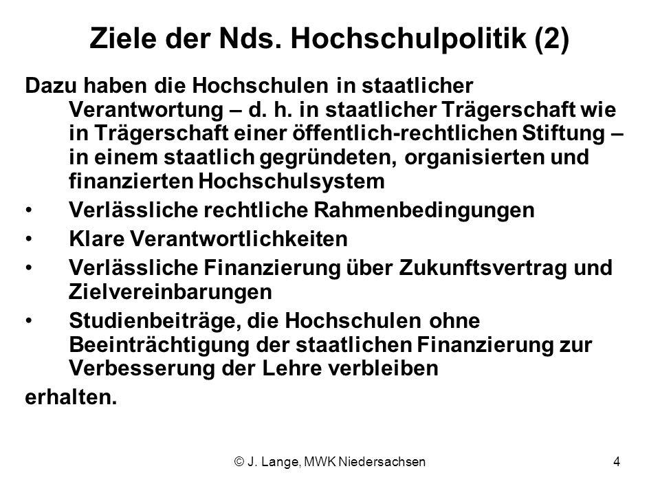© J. Lange, MWK Niedersachsen4 Ziele der Nds. Hochschulpolitik (2) Dazu haben die Hochschulen in staatlicher Verantwortung – d. h. in staatlicher Träg