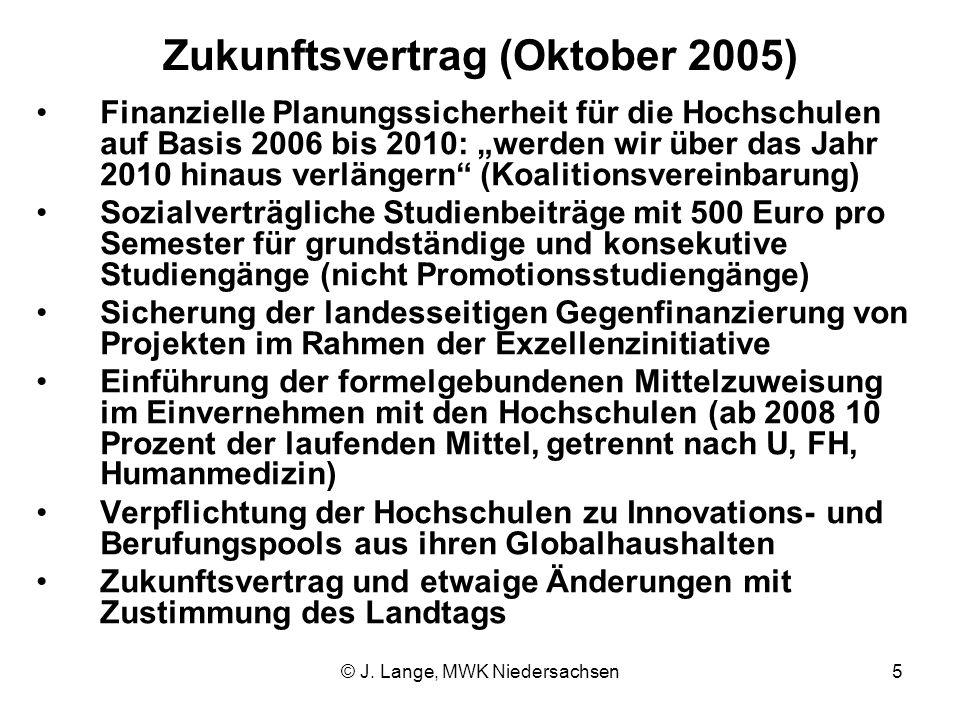 © J. Lange, MWK Niedersachsen5 Zukunftsvertrag (Oktober 2005) Finanzielle Planungssicherheit für die Hochschulen auf Basis 2006 bis 2010: werden wir ü