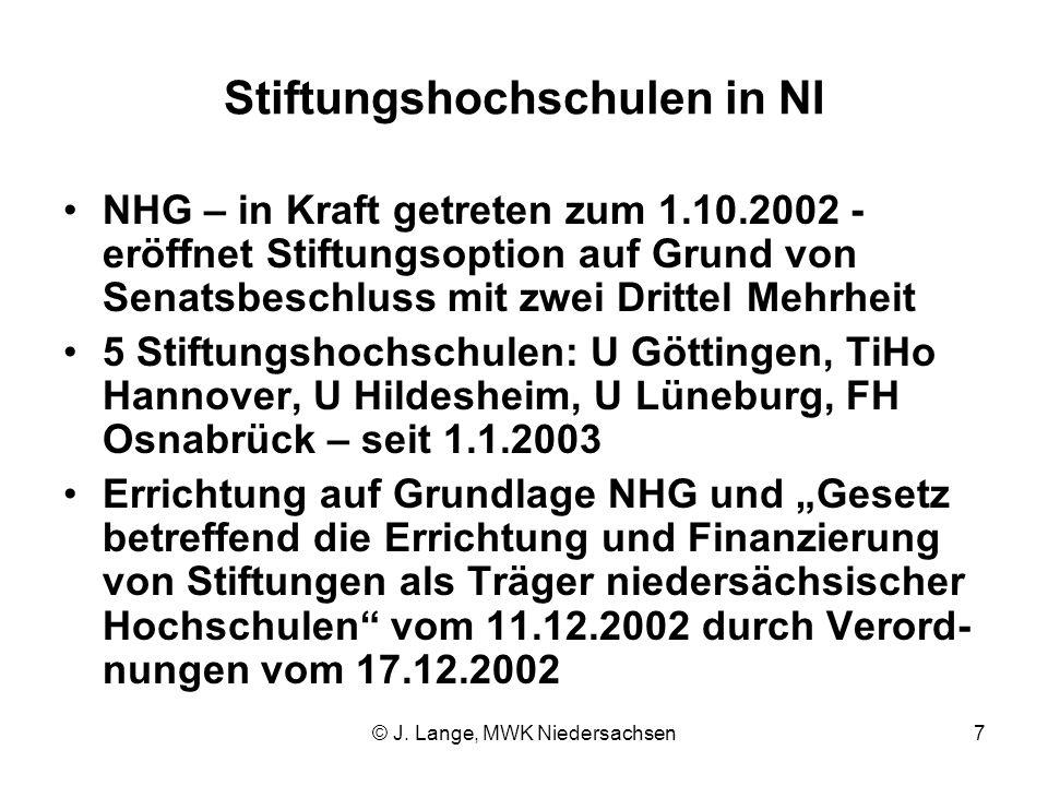 © J. Lange, MWK Niedersachsen7 Stiftungshochschulen in NI NHG – in Kraft getreten zum 1.10.2002 - eröffnet Stiftungsoption auf Grund von Senatsbeschlu