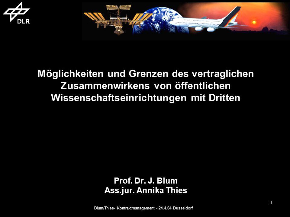 Blum/Thies- Kontraktmanagement - 24.4.04 Düsseldorf 1 Möglichkeiten und Grenzen des vertraglichen Zusammenwirkens von öffentlichen Wissenschaftseinrichtungen mit Dritten Prof.