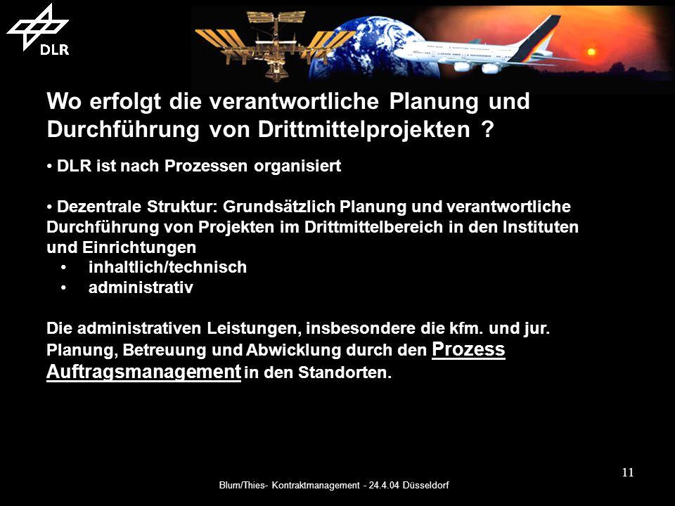Blum/Thies- Kontraktmanagement - 24.4.04 Düsseldorf 11 Wo erfolgt die verantwortliche Planung und Durchführung von Drittmittelprojekten .