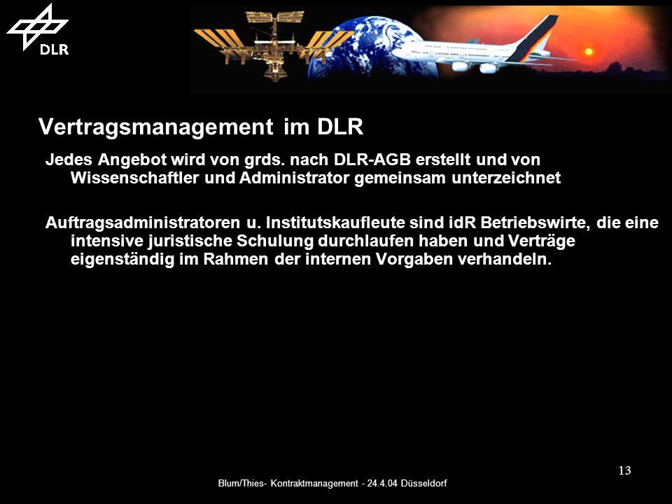 Blum/Thies- Kontraktmanagement - 24.4.04 Düsseldorf 13 Vertragsmanagement im DLR Jedes Angebot wird von grds.