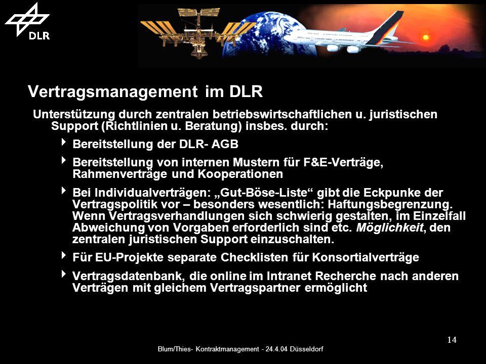 Blum/Thies- Kontraktmanagement - 24.4.04 Düsseldorf 14 Vertragsmanagement im DLR Unterstützung durch zentralen betriebswirtschaftlichen u.
