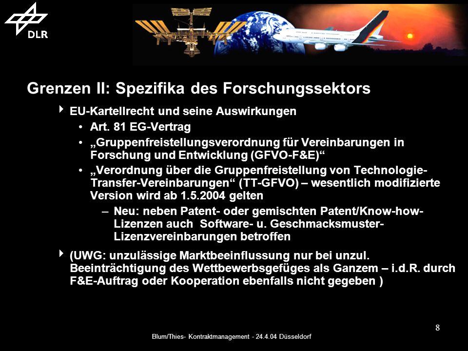 Blum/Thies- Kontraktmanagement - 24.4.04 Düsseldorf 8 Grenzen II: Spezifika des Forschungssektors EU-Kartellrecht und seine Auswirkungen Art.