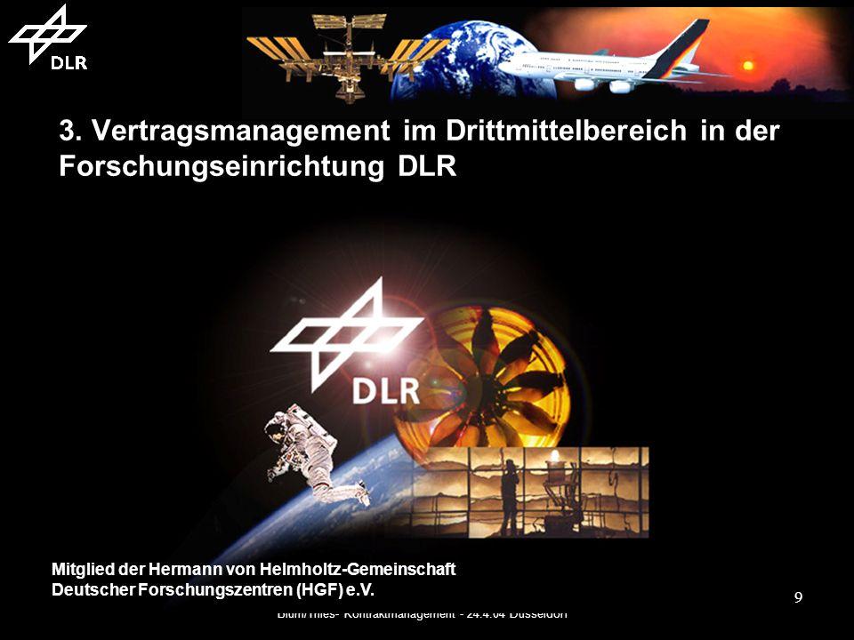 Blum/Thies- Kontraktmanagement - 24.4.04 Düsseldorf 10 Das DLR 5.100 Mitarbeiterinnen und Mitarbeiter Drittmittelbudget 2003: 186 Mio 28 Forschungsinstitute und wissenschaftlich-technische Einrichtungen in 8 Standorten 4 Außenstellen Deutsch-Niederländische Windkanäle (DNW) European Transonic Wind Tunnel (ETW)