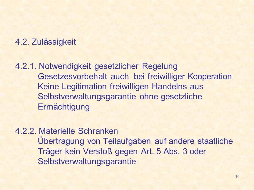 14 4.2. Zulässigkeit 4.2.1. Notwendigkeit gesetzlicher Regelung Gesetzesvorbehalt auch bei freiwilliger Kooperation Keine Legitimation freiwilligen Ha