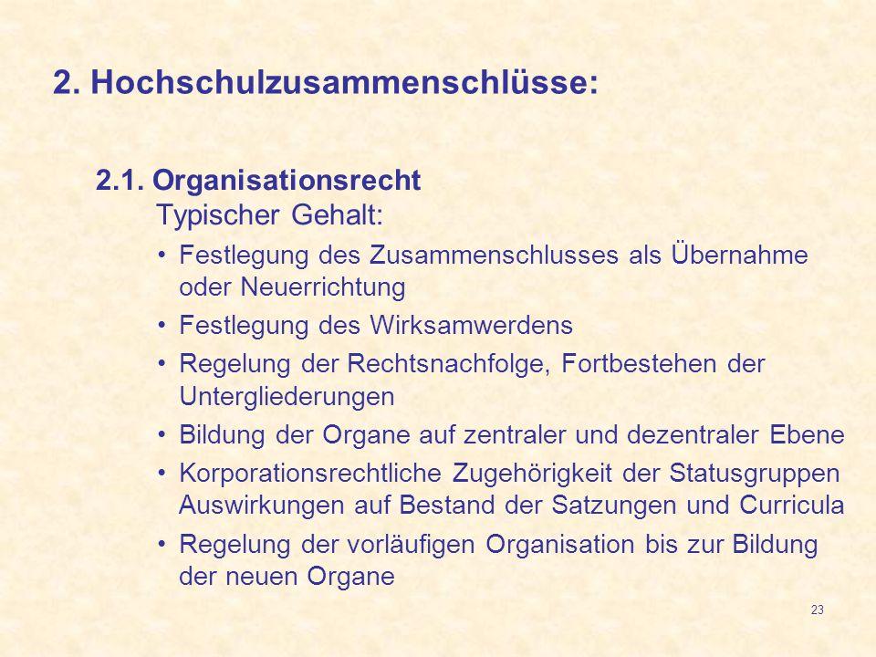 23 2.1. Organisationsrecht Typischer Gehalt: Festlegung des Zusammenschlusses als Übernahme oder Neuerrichtung Festlegung des Wirksamwerdens Regelung