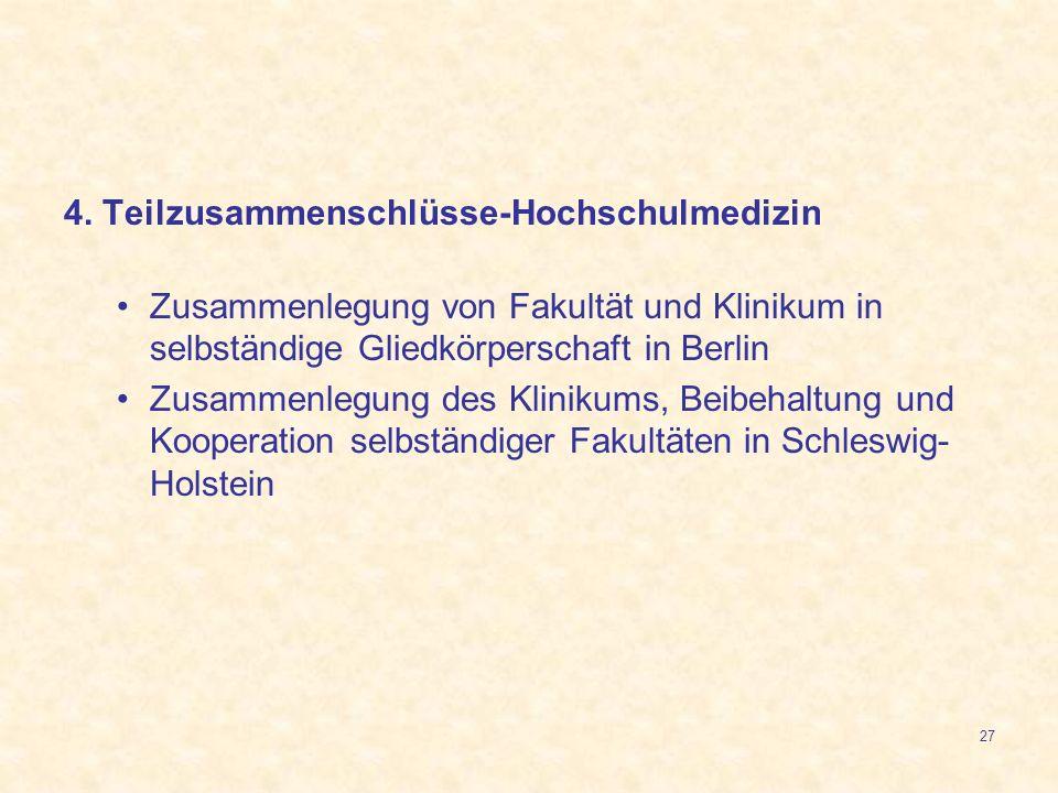 27 4. Teilzusammenschlüsse-Hochschulmedizin Zusammenlegung von Fakultät und Klinikum in selbständige Gliedkörperschaft in Berlin Zusammenlegung des Kl